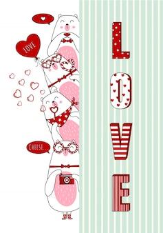 Osos encantadores del dia de san valentin