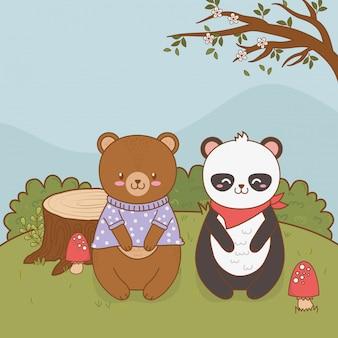 Osos lindos panda y peluche en el campo arbolado carácter
