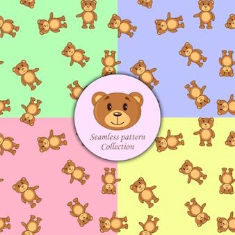 Osos marrones conjunto de diferentes colores de patrones sin fisuras