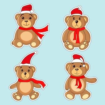Osos pegatinas marrones en gorras de navidad santa claus