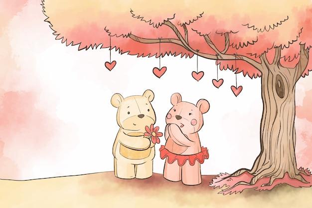 Osos de peluche bajo el fondo del árbol de san valentín