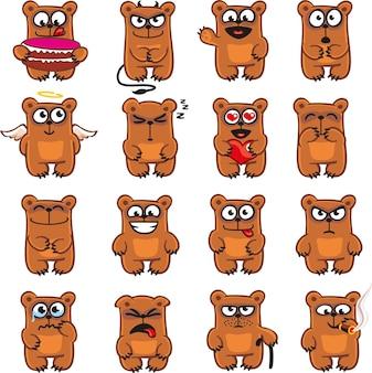 Osos sonrientes agrupados individualmente para copiar y pegar fácilmente.