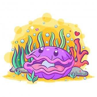 La ostra morada con la perla bonita se queda en el mar