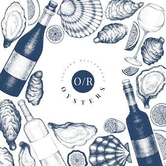 Ostras y diseño de vino. dibujado a mano ilustración. mariscos.