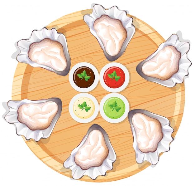 Ostras frescas en un plato