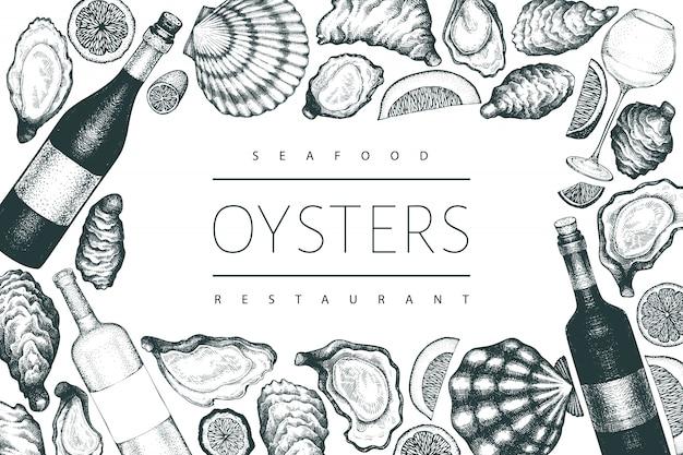 Ostras y plantilla de vino. dibujado a mano ilustración. banner de mariscos. se puede utilizar para el menú de diseño, envases, recetas, etiquetas, mercado de pescado, productos del mar.