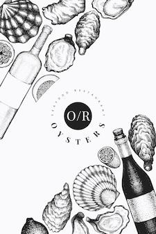 Ostras y plantilla de vino. dibujado a mano ilustración. mariscos .
