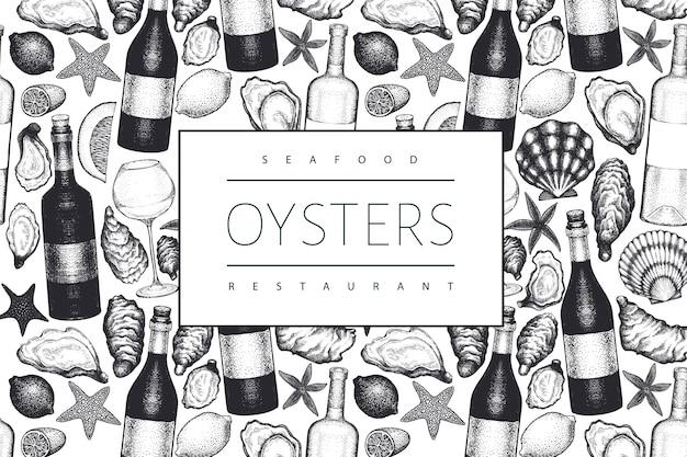 Ostras y vino. dibujado a mano ilustración. mariscos . se puede utilizar para el menú de diseño, envases, recetas, etiquetas, mercado de pescado, productos del mar.