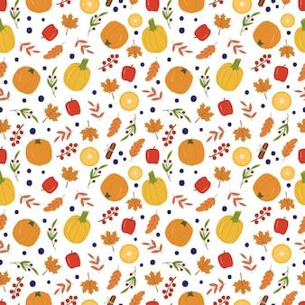 Otoño acogedor de patrones sin fisuras con calabazas, manzanas, limones, bayas y hojas. lindo fondo para textiles, papel de embalaje.ilustración de dibujos animados dibujados a mano de vector.