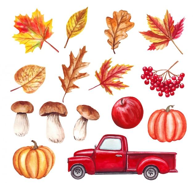 Otoño de acuarela con camión rojo, hojas, calabazas, champiñones, manzana, otoño y todos