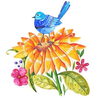 Otoño acuarela girasol con pájaro azul