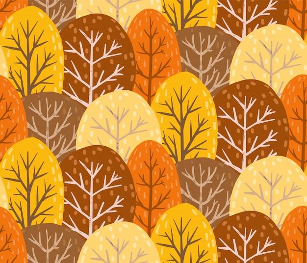Otoño bosque de patrones sin fisuras. textura interminable