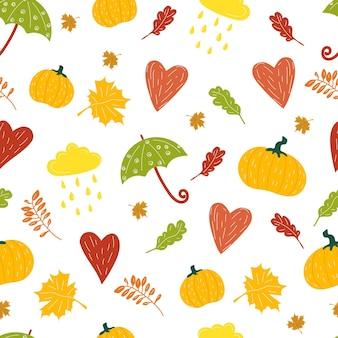 Otoño dibujado a mano dibujos animados de patrones sin fisuras con hojas de otoño bosque nuboso corazón calabaza