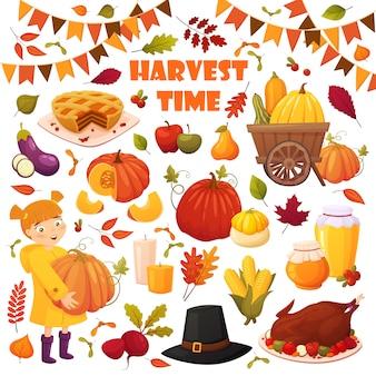 Otoño con diferentes elementos vectoriales: verduras, calabazas, pastel, tarros de miel, pavo, sombrero y hojas.