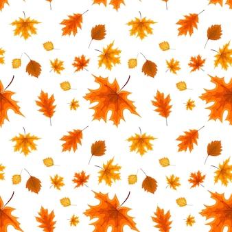 Otoño de hojas caídas de color naranja y rojo. patrón sin costuras. ilustración de vector. eps10