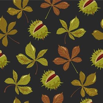 Otoño hojas y castañas de patrones sin fisuras