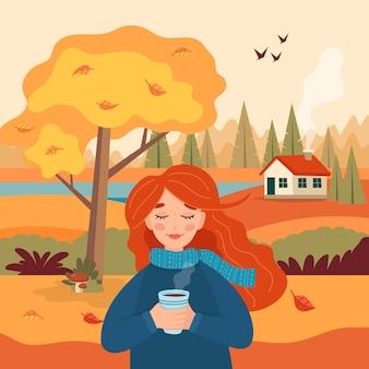 Otoño niña con taza de café, vista rural del paisaje