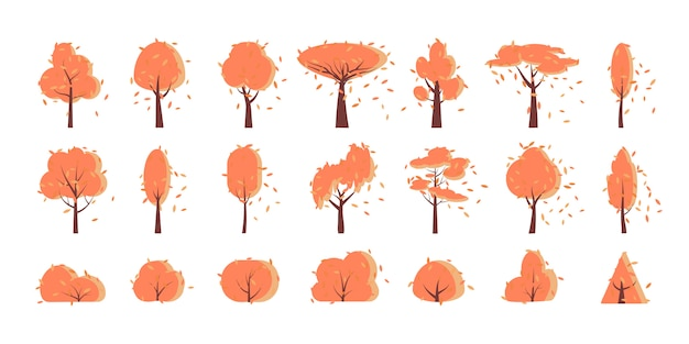 Otoño otoño árbol, arbusto, conjunto de dibujos animados plana.