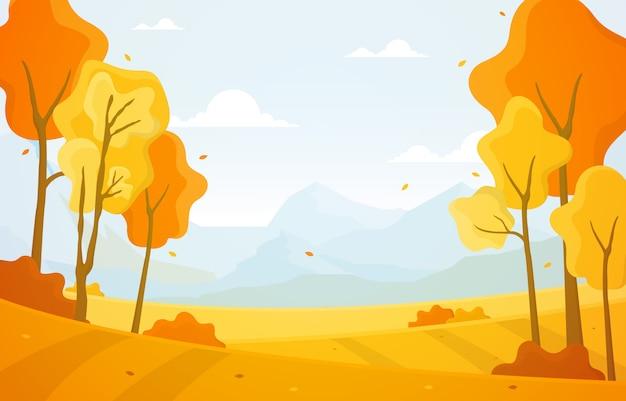 Otoño otoño temporada árbol amarillo dorado montaña paisaje panorámico