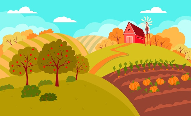 Otoño paisaje rural con colinas y campos.