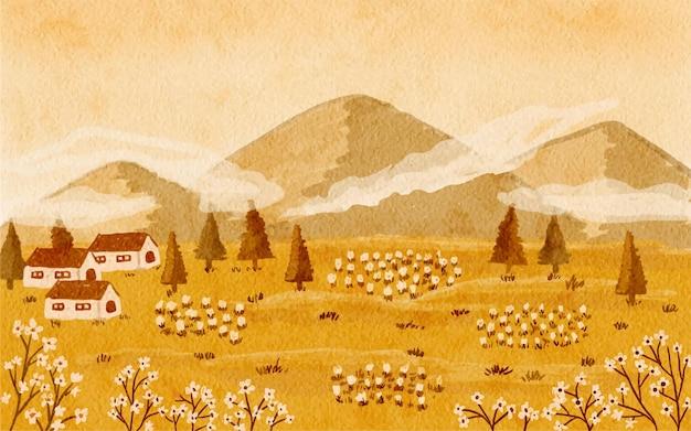 Otoño paisaje rústico montañas paisaje fondo acuarela pintada a mano ilustración
