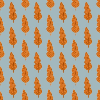 Otoño patrón de hojas sin fisuras con siluetas de otoño naranja.