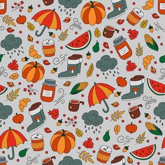 Otoño de patrones sin fisuras en estilo doodle y dibujos animados