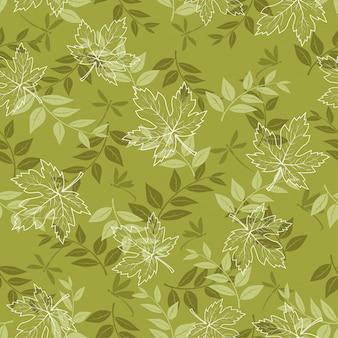 Otoño de patrones sin fisuras con hojas de arce y libélula en verde pastel