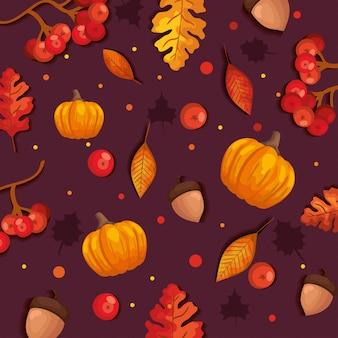 Otoño de patrones sin fisuras con hojas y calabazas