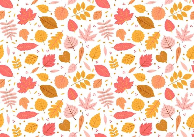 Otoño de patrones sin fisuras con hojas, fondo de hojas otoñales. textura de hoja abstracta. lindo telón de fondo. hoja cae. hojas amarillas y rosadas. fondo blanco. la elegante plantilla para estampados de moda. vector.