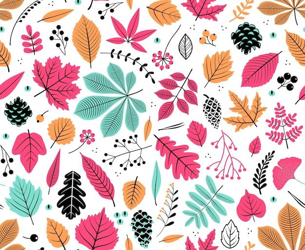 Otoño de patrones sin fisuras con hojas, fondo de hojas otoñales. textura de hoja abstracta. lindo telón de fondo. hoja cae. hojas de colores. fondo blanco. la elegante plantilla para estampados de moda.