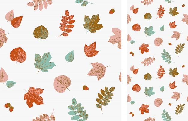 Otoño de patrones sin fisuras con hojas