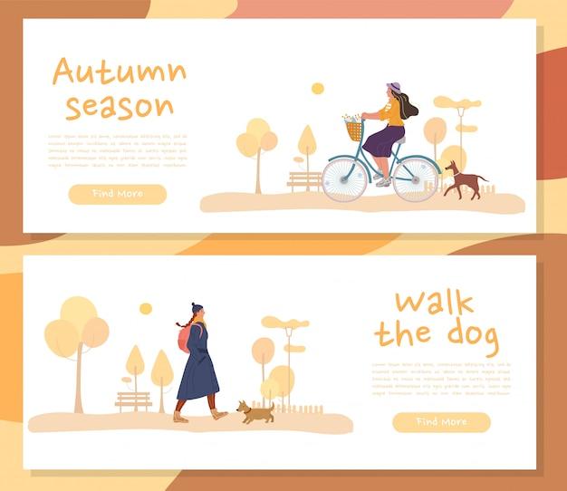 Otoño personas personajes perro en encabezado banner set