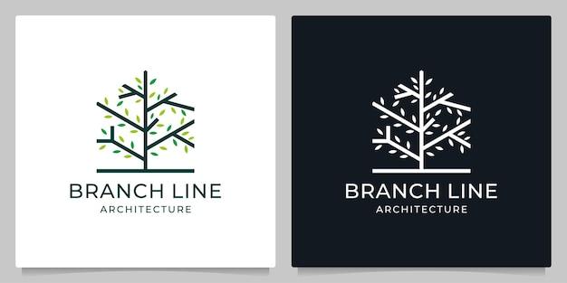 Otoño de rama de hogar con diseño de logotipo de arte lineal