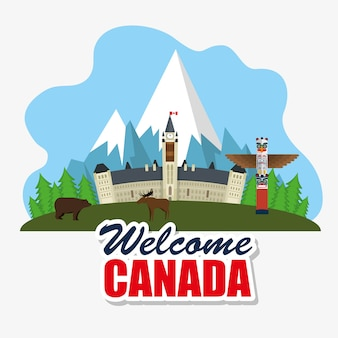 Ottawa, canadá, paisaje urbano, escena, vector, ilustración, diseño