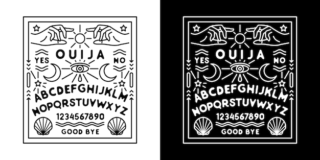 Ouija board monoline badge