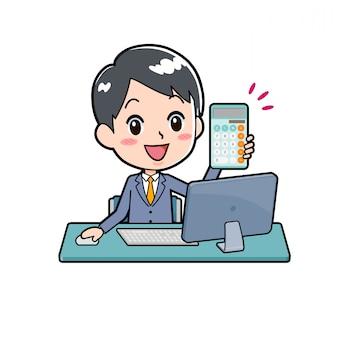Out line businessman_calculator-pc