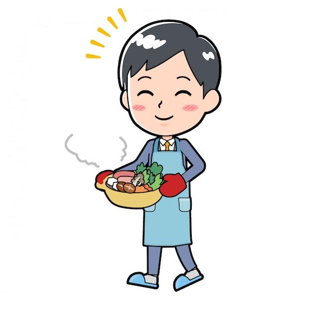 Out line empresario cocinar cacerola