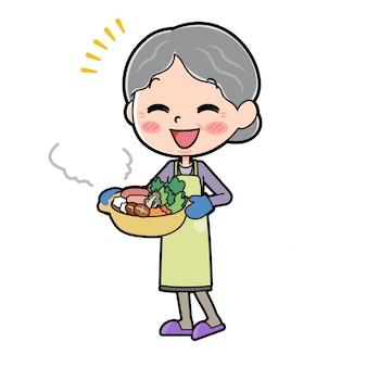 Out line purple wear abuela cocinar cacerola