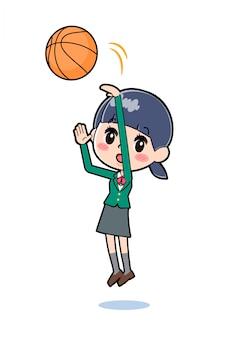 Out line school girl baloncesto verde