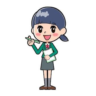 Out line school girl green_purezen-pen