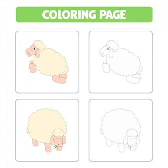 Ovejas de dibujos animados lindo, libro para colorear