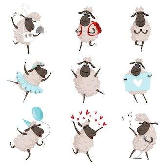 Ovejas de divertidos dibujos animados en varias poses de acción