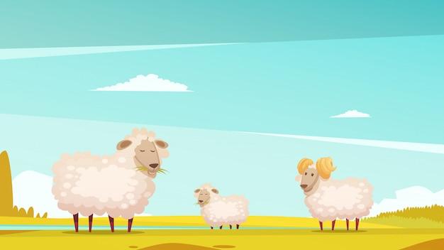 Ovejas domésticas que crían y crían pastos de granja