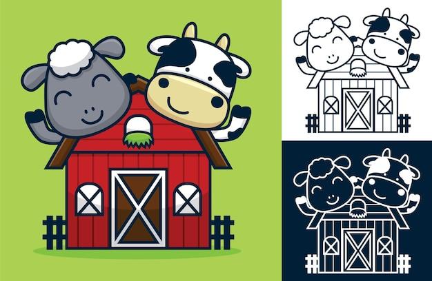 Ovejas y vacas divertidas en el granero. ilustración de dibujos animados en estilo plano