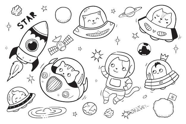 Ovni y alienígena en el espacio doodle