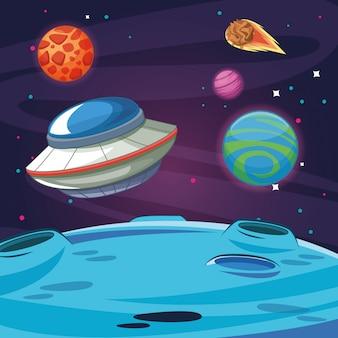 Ovni nave espacial extraterrestre en la galaxia