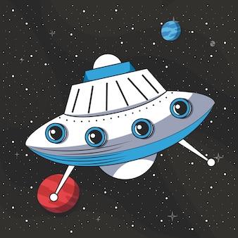 Ovni volando en el espacio