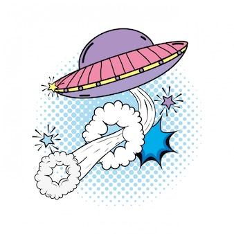 Ovni volando con estilo pop art