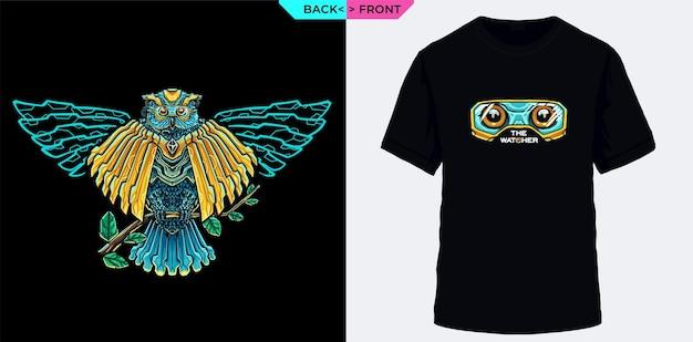 Owl the watcher in the dark adecuado para camisetas de serigrafía